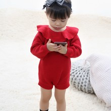 Autumn Infant Baby Long Sleeve Knitted Rompers Newborn Kids Boys Girls Jumpsuit Warm Clothes цена 2017