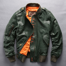 Avirex fly fashion baseball army green genuine leather flight men black red bomber jacket