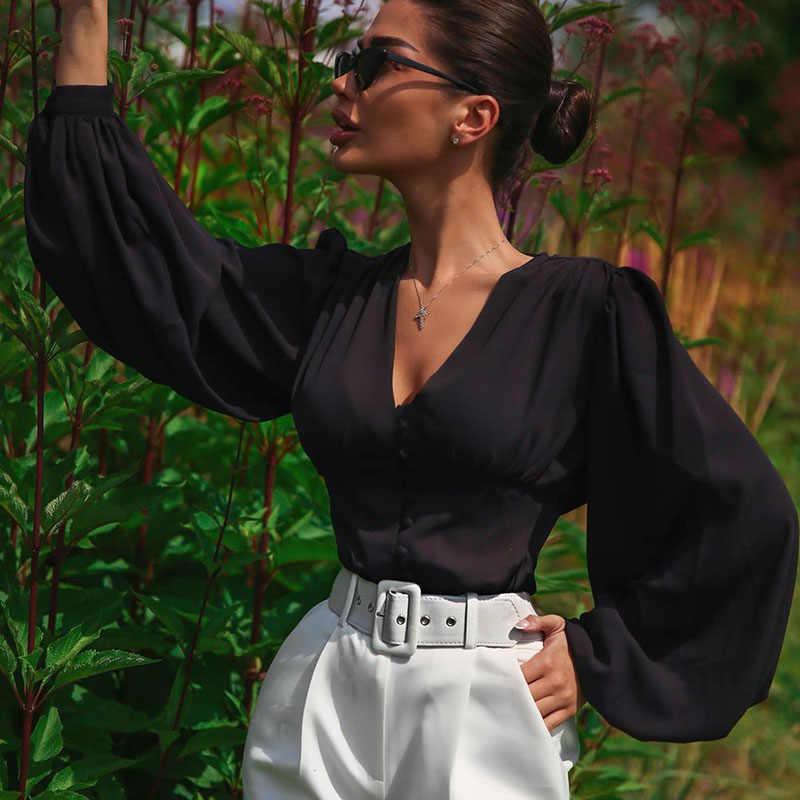 WannaThis البلوزات امرأة 2019 مثير العميق الخامس الرقبة زر أسود فانوس كم طويل سليم موضة الخريف جديد أنيق سيدة قميص أعلى