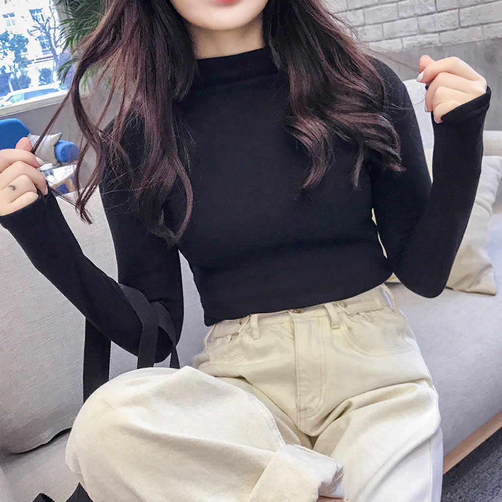 Tシャツビッグサイズ秋冬レディースロングスリーブソリッドプルオーバータートルネックベルベットの基本的なトップス 2020 女性服 Tシャツファム