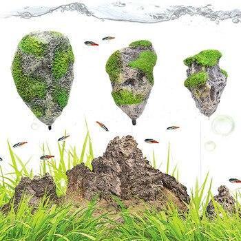 Acuario rocas flotantes suspendidas piedras peces artificiales tanque bajo el agua paisaje decoración tamaño S M L