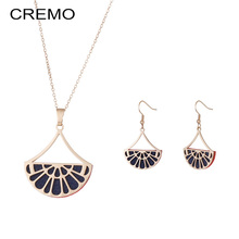 Cremo Fashion Women Choker Necklace Vintage Fan Pendant for Hanging Drop Earings Jewelry Set