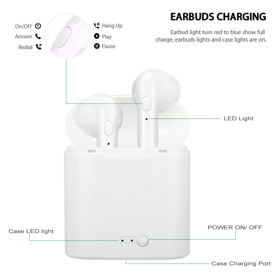 i7s Tws Wireless Headphones Bluetooth Earphones Earbuds Handsfree in ear Sports Headset with Charging Box Mic For iPhone Xiaomi 4