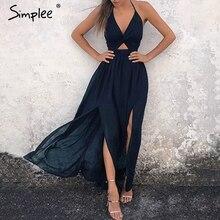 Simplee סקסי פרחוני הדפסת נשים ארוך שמלת קיץ הלטר v צוואר שיפון פיצול שמלות בציר שחור מקסי חוף שמלות קיץ 2019