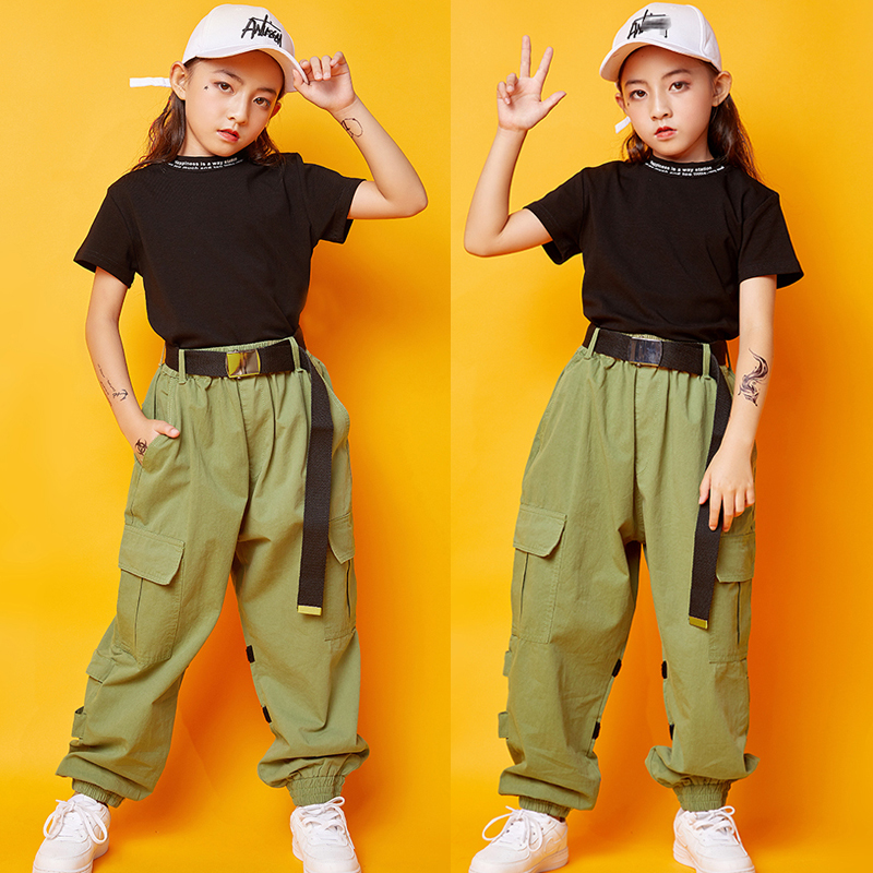 Children Jazz Dance Costumes Kids Black Tops Green Pants Outfit Hip Hop Clothing For Girls Street Dance Performance Wear SL1972