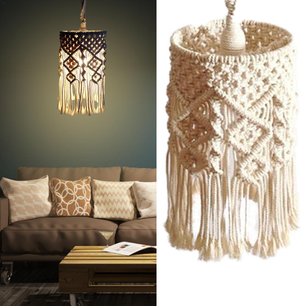 Bohemian Handmade Woven Lampshade Macrame Wall Hanging Lamp Room Coffee Restaurant Decoration Tapestry Lampshade