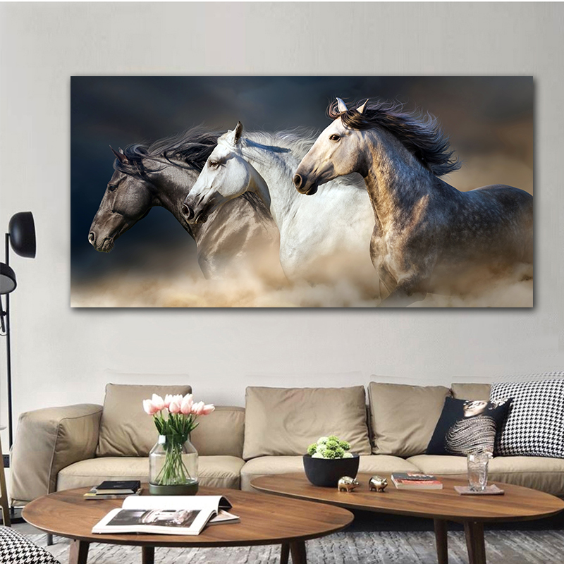 Canvas Painting Wall Art Print Poster The Running Horse Animal Modular Pictures For Living Room Cuadros Home Decor No Frame