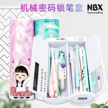 Password Pencil Case  Calculator Solar Erasable Mirror High Capacity Pen Boxes Bags Pouch School Supplies Stationery Boys Girls