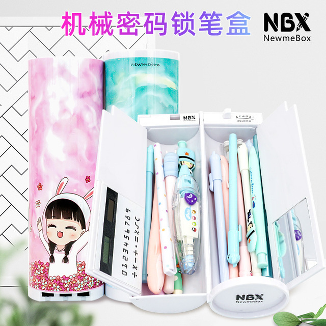 Password Pencil Case  Calculator Solar Erasable Mirror High Capacity Pen Boxes Bags Pouch School Supplies Stationery Boys Girls