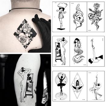 1 arkusz moda Sexy kwiaty fałszywy tatuaż kobiety wodoodporna tymczasowa czarna różana dziewczyna Spoondrift tatuaż naklejki tatuaże do ciała tanie i dobre opinie Jedna jednostka CN (pochodzenie) Zmywalny tatuaż