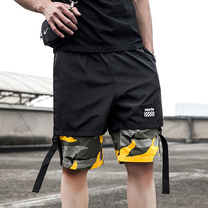 Summer Mock Two-Piece Camouflage Shorts Men's Fashion Loose-Fit National Trends Hip Hop Shorts Men Quick-Dry Athletic Pants 5 Pa