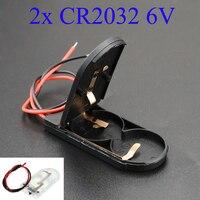 YuXi 1pc Hold 2x CR2032 botón pila de moneda funda porta baterías almacenamiento caja negra 6V cable interruptor de encendido/apagado