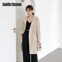 Womens Fashion Cotton Mid long Windbreaker Top Sales Oversized Casual Zipper Overcoat With Pockets Runway Cloak Female Coats
