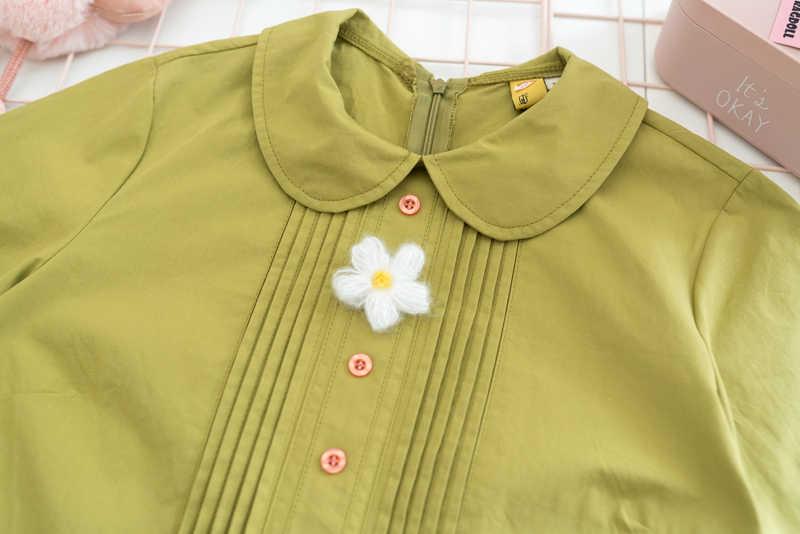 Đầm Xòe Bé Gái Váy Đầm Ngắn Tay Xanh Mini Cổ Peter Pan Nữ Dễ Thương Xếp Ly Áo