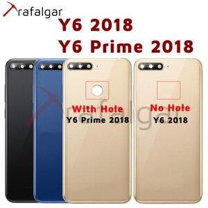 Image 1 - Для Huawei Y6 2018 Задняя крышка батареи задняя дверь корпус чехол для Huawei Y6 Prime 2018 крышка батареи с кнопкой громкости питания