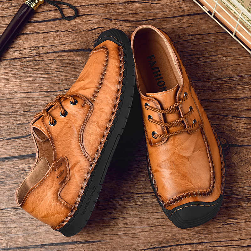 עור גברים נעליים יומיומיות קלאסי אופנה זכר תחרה עד שטוח נוח נעלי ספורט הנעלה גברים נעלי Dropship 38-46 בתוספת גודל