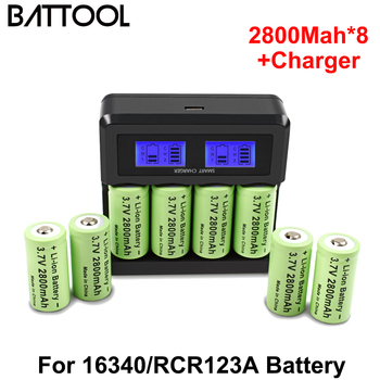 Battool 3.7V 2800mAh Lithium Li-ion For 16340 Battery CR123A Rechargeable Batteries 3.7V CR123 For Laser Pen Special Battery 12pcs pkcell lithium battery cr123a cr 123a cr17345 16340 cr123a 3v non rechargeable batteries for camera gas meter primary dry