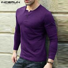 Erkekler eğlence uzun kollu T shirt INCERUN spor düz renk V boyun T-shirt casual temel sonbahar Tee Tops nefes bluz 5XL 7