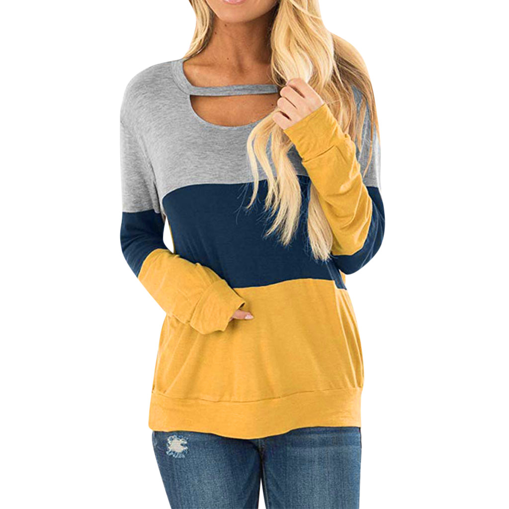 Women's Blouses Long Sleeves Color Block Tunic Tees Choker Neck Blouse Tops Plus Size Casual Office Shirt Ropa Mujer#G1