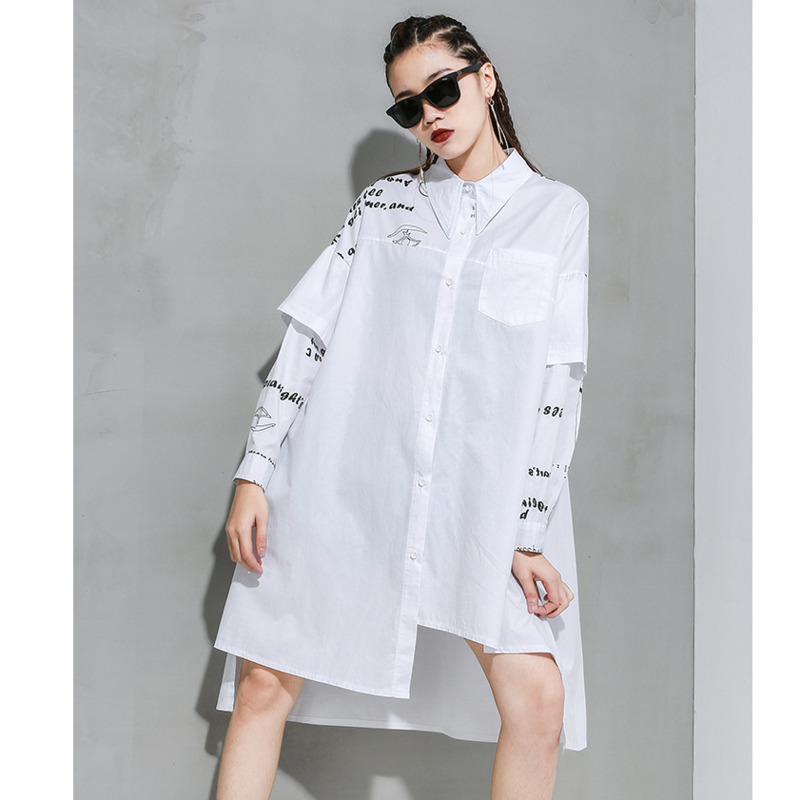 LANMREM Can Ship Tide Spring New 2020 Black Wite Printing Irregular Oversize Loose Long Shirt Patchwork Long Sleeve Tops YJ098