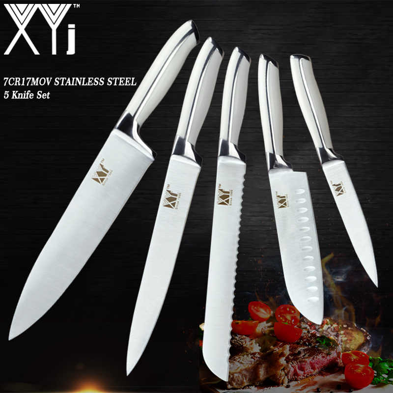 XYj Professional Design Kitchen Knife Set Stainless Steel Cooking Knives Paring Utility Santoku Bread Chef Slicing Knive Set