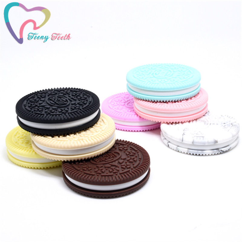 1 PC Silicone Biscuits Teether DIY Oreo Cookie Baby Pacifier Dummy Chewing Sensory Baby Teether Montessori Toy Accessories