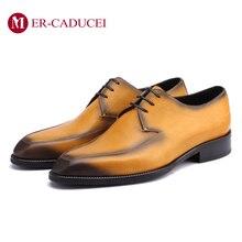 Итальянские Мужские модельные туфли; Роскошные туфли дерби из натуральной кожи; Модные Винтажные вечерние туфли в стиле ретро; деловые свадебные туфли для мужчин