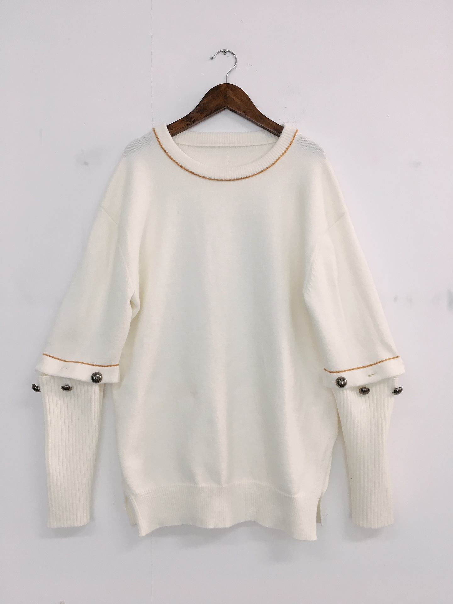 2019 Autumn New Star The Same Round Collar White Open fork Sweater Women Lazy style Fashion Sweater Women Sweaters in Pullovers from Women 39 s Clothing