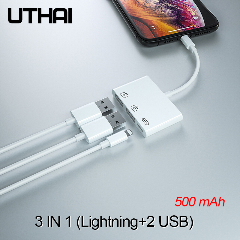 UTHAI E16 For Iphone USB OTG Adapter 500mAh HDMI Converter Lightning To USB SD Audio Adapter Of IPhone 7 8 X XR 11 Support IOS13
