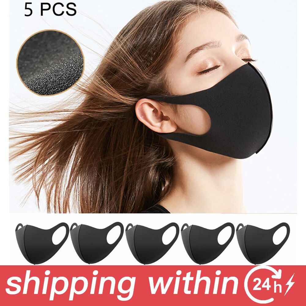 5pcs Black Face Mask  Dust And Nose Protection Breathable Mouth Mask Fashion Reusable Washable Masks For Man Woman