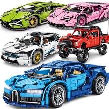 Alta-tecnologia mecânica bugatties carro esportivo técnico carro de corrida veículo vintage blocos de construção tijolos brinquedos para meninos presentes adultos