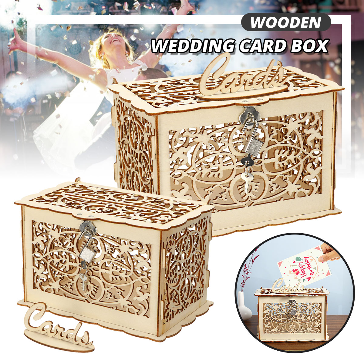 Rustic Wedding Card Boxes DIY Wedding Gift Card Holder Wooden Money Case For Birthday Party Baby Shower Decoration With Lock