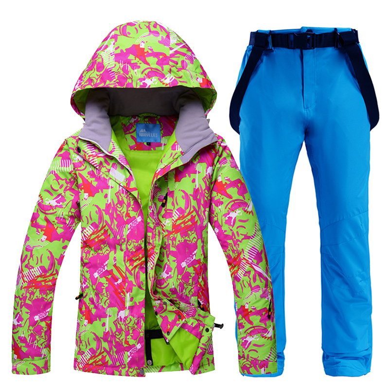Ski Suit Women Winter 2020 Waterproof Windproof Thicken Warm Snow Clothes Women Ski Sets Jacket Skiing And Snowboarding Suits