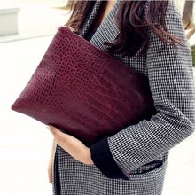 2020 Fashion Women's Clutch Bag Solid Color PU Leather Envelope Bag Crocodile Pattern Bag Large Capacity Waterproof Clutch Bag brown leather look solid color clutch bag