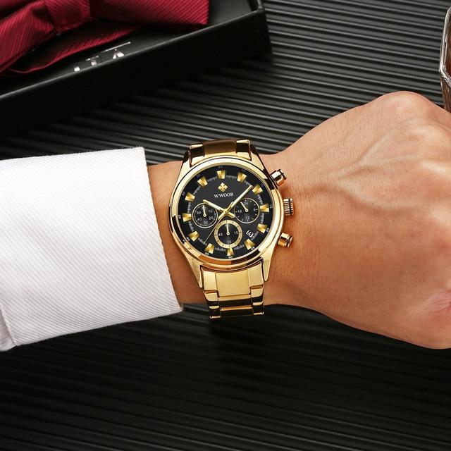 Мужские наручные часы WWOOR, роскошные золотые наручные часы с хронографом, 2019