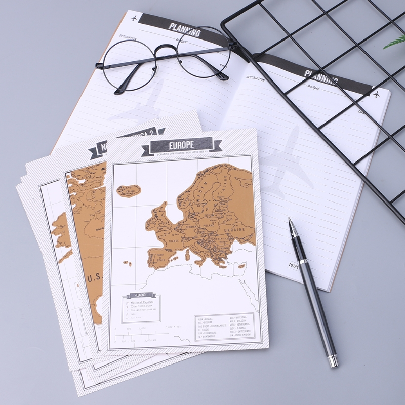 Journal Diary Notebooks Scratch Map Popular Travel City 8 World Maps Travelogue