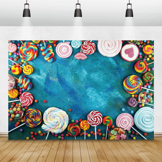 Laeacco Lollipop Candy Bar Dessert Donut Baby Birthday Photography Backdrops Customize Photographic Backgrounds For Photo Studio