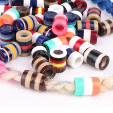 20pcs Colorful Resin Dreadlock Beads Stripes Pattern Hair Braid Dread Cuff Clip