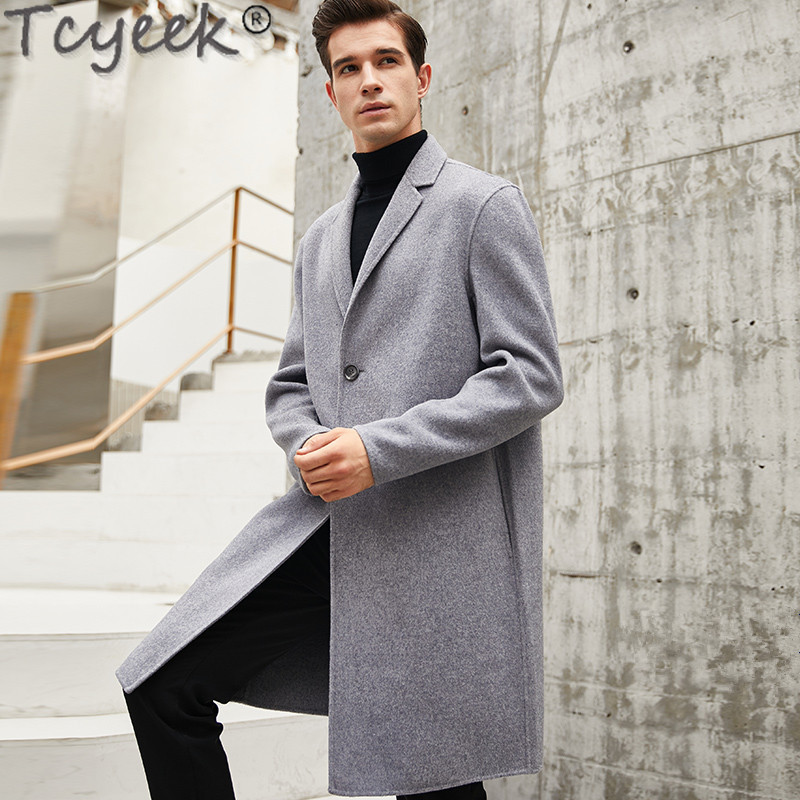 Double-faced Wool Coat Men Korean Overcoat Spring Autumn Long Jacket Mens Coat and Jacket Abrigo Hombre MNDY9902 KJ1496