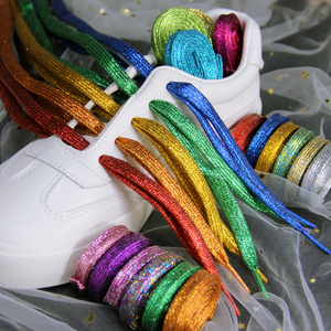 Shiny Gold and Silver Colorful Bright Shoelaces Metallic Glitter Sneaker Sport Shoes Laces Bootlaces Shoe laces Strings