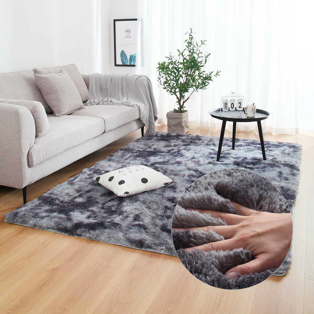 Gray Carpet Tie Dyeing Plush Soft Carpets Anti-slip Floor Mats Bedroom Water Absorption Carpet Rugs For Living Room Bedroom