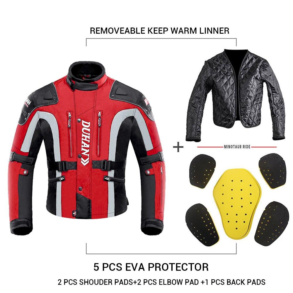 Duhan outono inverno à prova de frio jaqueta da motocicleta moto + protetor calças moto terno touring roupas conjunto de equipamentos de proteção - 3