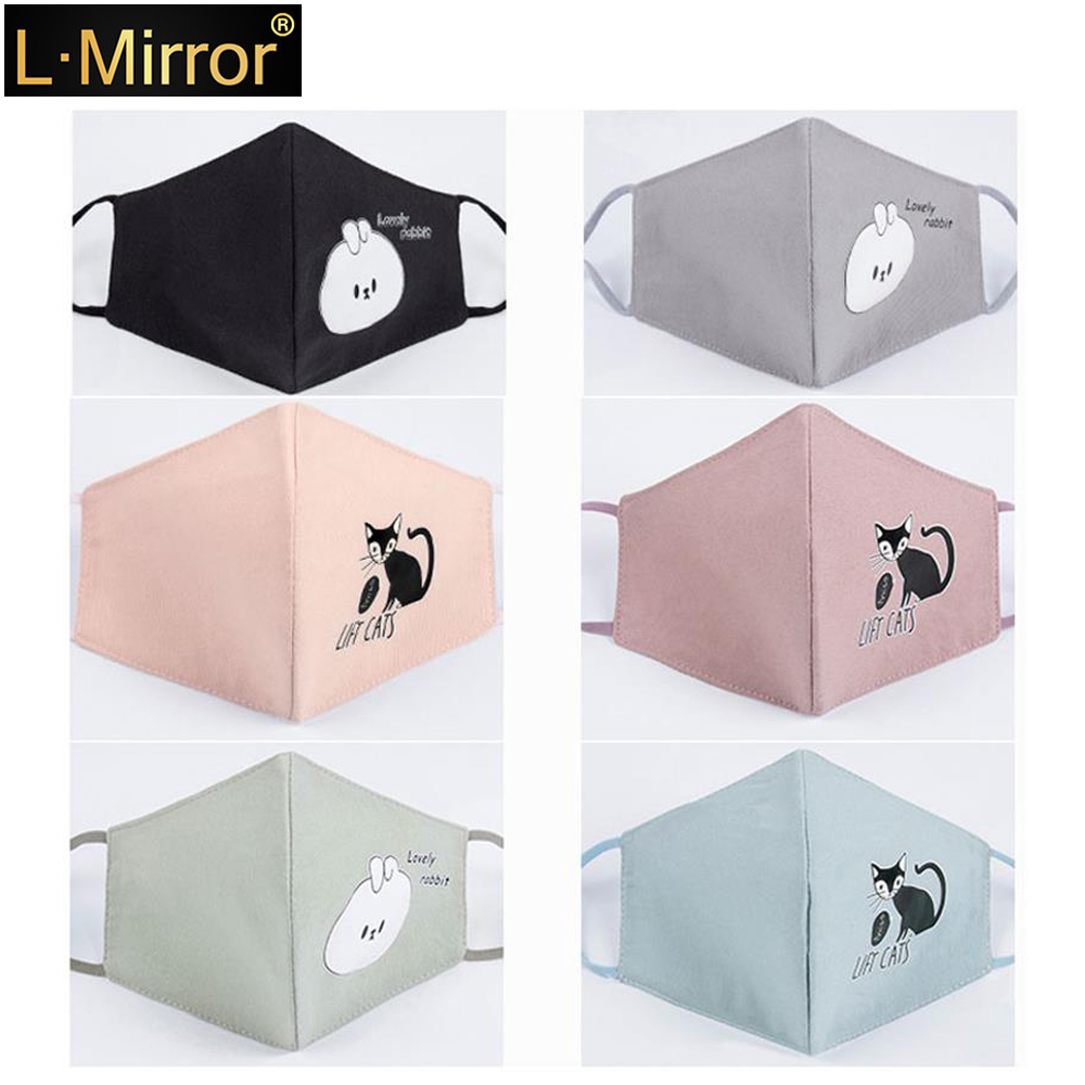 L.Mirror 1Pcs Fashion Cats Face Mouth Mask Anti Dust Filter Windproof Mouth-muffle Bacteria Proof Flu Care Reusable