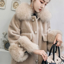 5xl Plus Size Faux Fur Female Jacket Overcoat Fox Fur Collar High Imitate Fur Loose Winter Coat Women Plus Size Outerwear Coats(China)