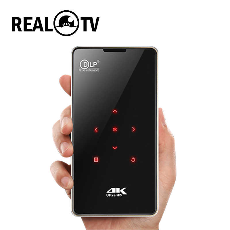 REAL TV P09 Mini DLP portátil Android mini proyector DE LA CASA cine HDMI 4K decodificación WiFi Bluetooth Miracast Airplay