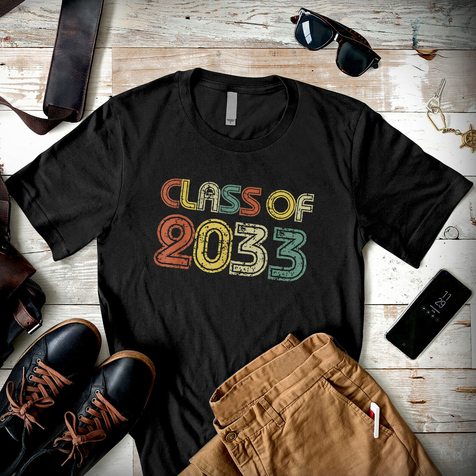 Class Of 2033 Grow With Me Future Graduates Retro Men T Shirt Cotton S 5Xl Black