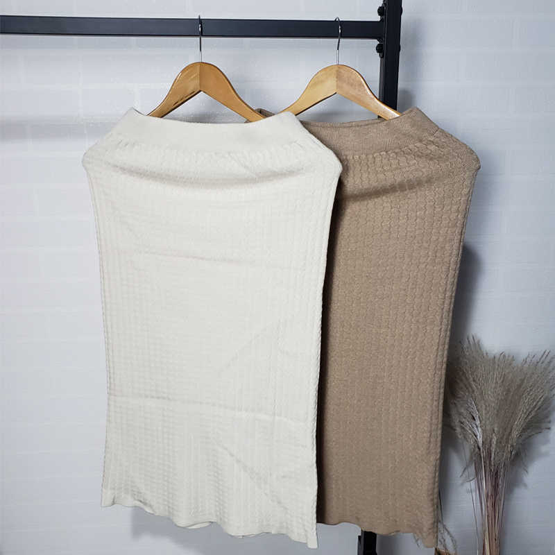2019 Winter Knitted Skirts Elastic Waist Slim Pencil Skirt Korean Fashion Women Clothes High Waist Faldas Mujer