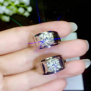 Image 2 - BOEYCJR 925 Silver 0.5ct/1ct/2ct/3ct F color Moissanite VVS  Engagement Wedding Diamond Ring for Men With national certificate