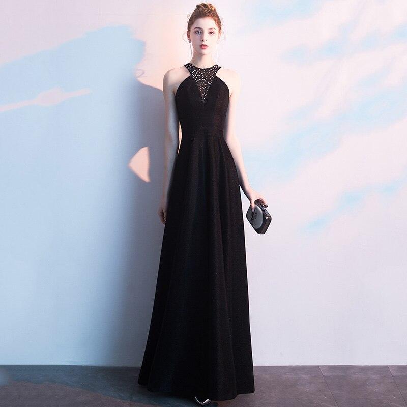 Exquisite Bling Rhinestone Formal Party Dress Women Lady Qipao Sexy Backless Halter Vestidos Elegant Solid Black Robe De Soiree