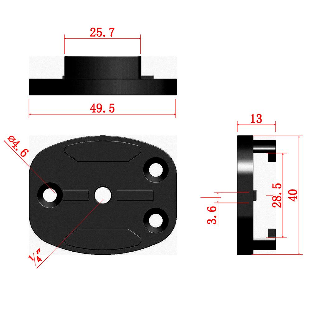 "Aluminum CNC Black Flat Surface Tripod Mount Adapter for Gopro Hero 9 8 7 6 5 4 3 / SJcam / Yi Action Cameras w/ 1/4"" Screw Hole"